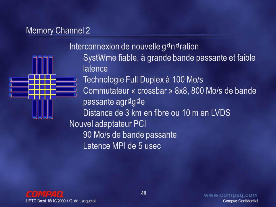 Compaq Confidentiel www.compaq.com HPTC Brest 18/10/2000 / G. de Jacquelot 48 Memory Channel 2 Interconnexion de nouvelle g n ration Syst me fiable, à