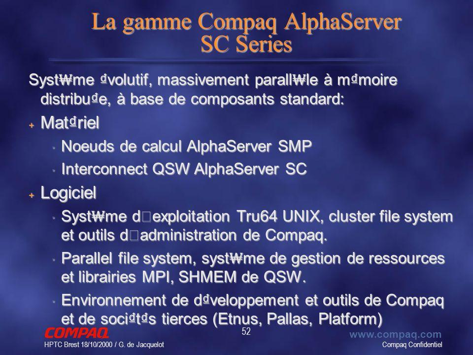 Compaq Confidentiel www.compaq.com HPTC Brest 18/10/2000 / G. de Jacquelot 52 La gamme Compaq AlphaServer SC Series Syst me volutif, massivement paral