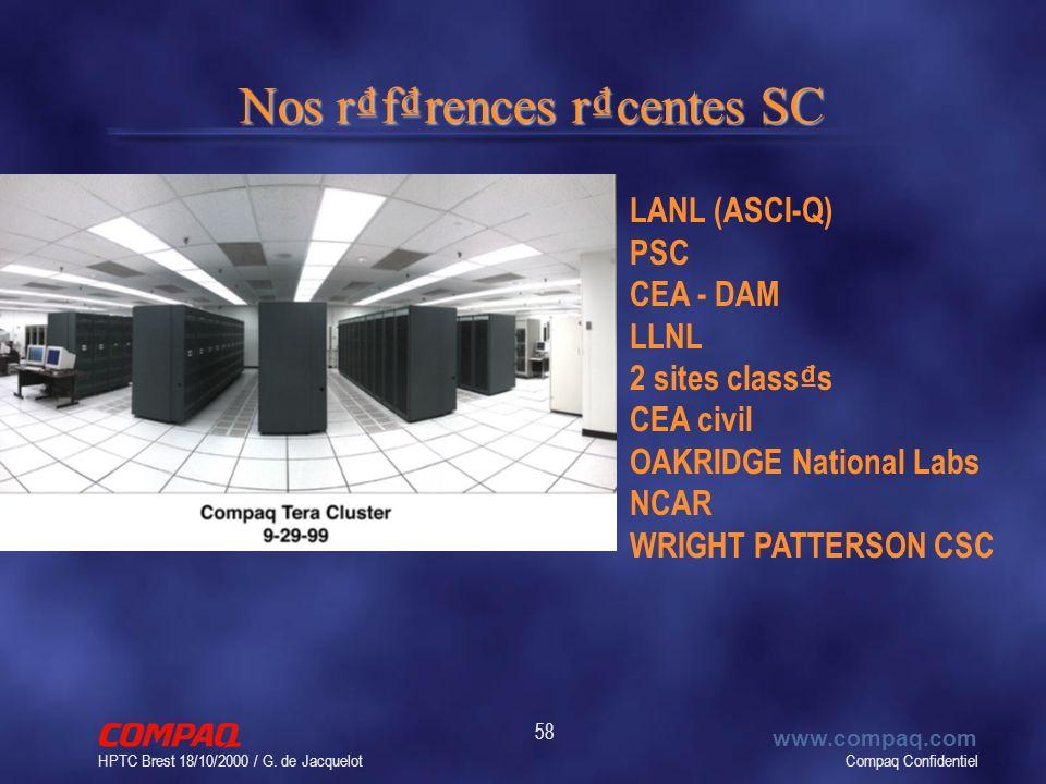 Compaq Confidentiel www.compaq.com HPTC Brest 18/10/2000 / G. de Jacquelot 58 Nos rfrences rcentes SC LANL (ASCI-Q) PSC CEA - DAM LLNL 2 sites class s