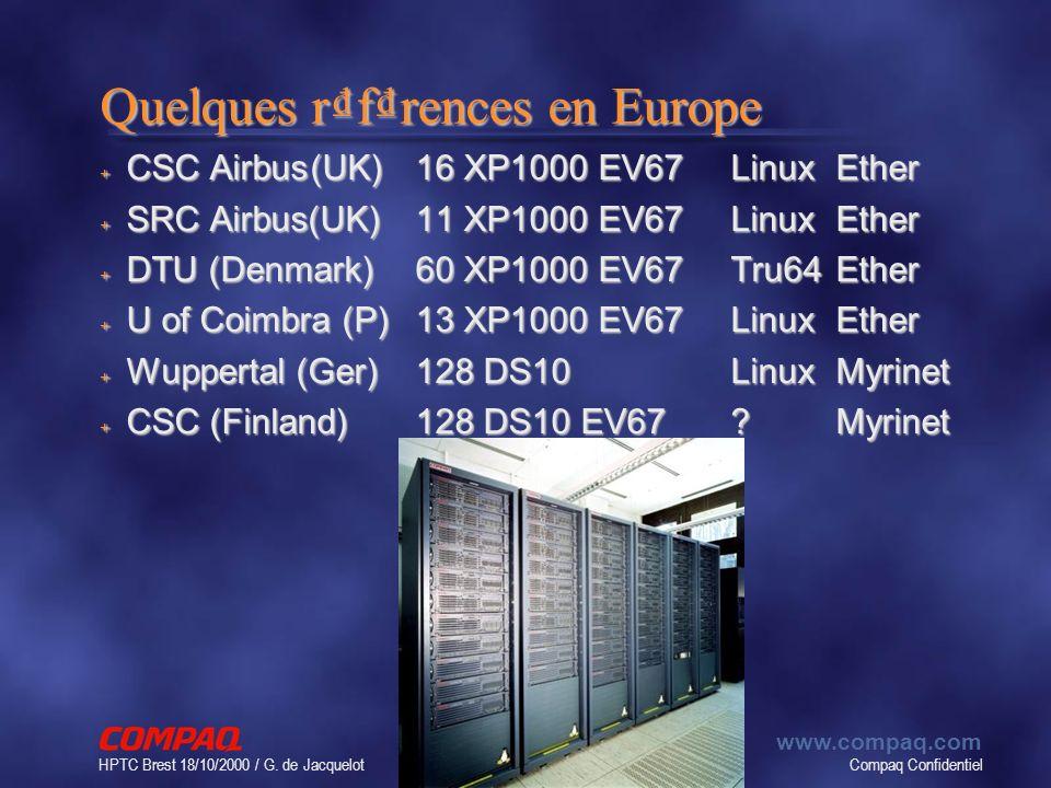 Compaq Confidentiel www.compaq.com HPTC Brest 18/10/2000 / G. de Jacquelot 61 Quelques rfrences en Europe + CSC Airbus(UK)16 XP1000 EV67LinuxEther + S