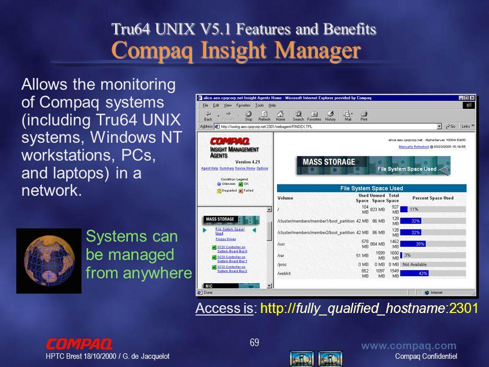 Compaq Confidentiel www.compaq.com HPTC Brest 18/10/2000 / G. de Jacquelot 69 Tru64 UNIX V5.1 Features and Benefits Compaq Insight Manager Allows the