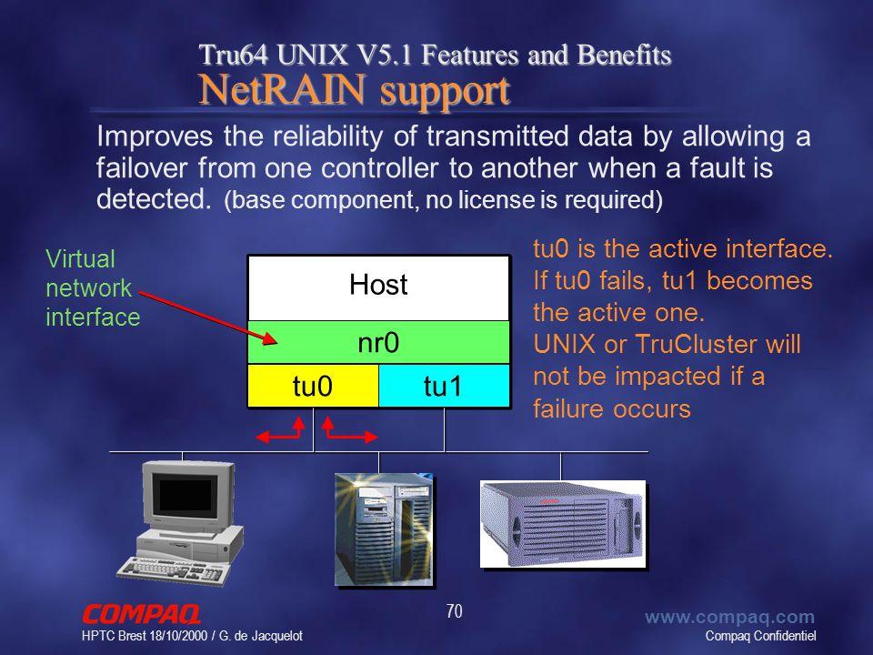 Compaq Confidentiel www.compaq.com HPTC Brest 18/10/2000 / G. de Jacquelot 70 Tru64 UNIX V5.1 Features and Benefits NetRAIN support Improves the relia