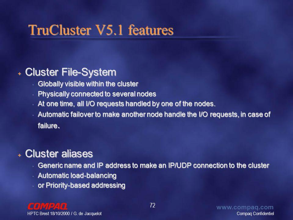 Compaq Confidentiel www.compaq.com HPTC Brest 18/10/2000 / G. de Jacquelot 72 TruCluster V5.1 features + Cluster File-System