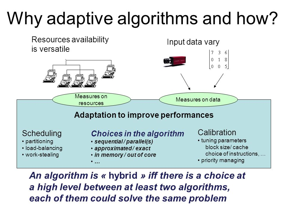 Why adaptive algorithms and how? Input data vary Resources availability is versatile Adaptation to improve performances Scheduling partitioning load-b