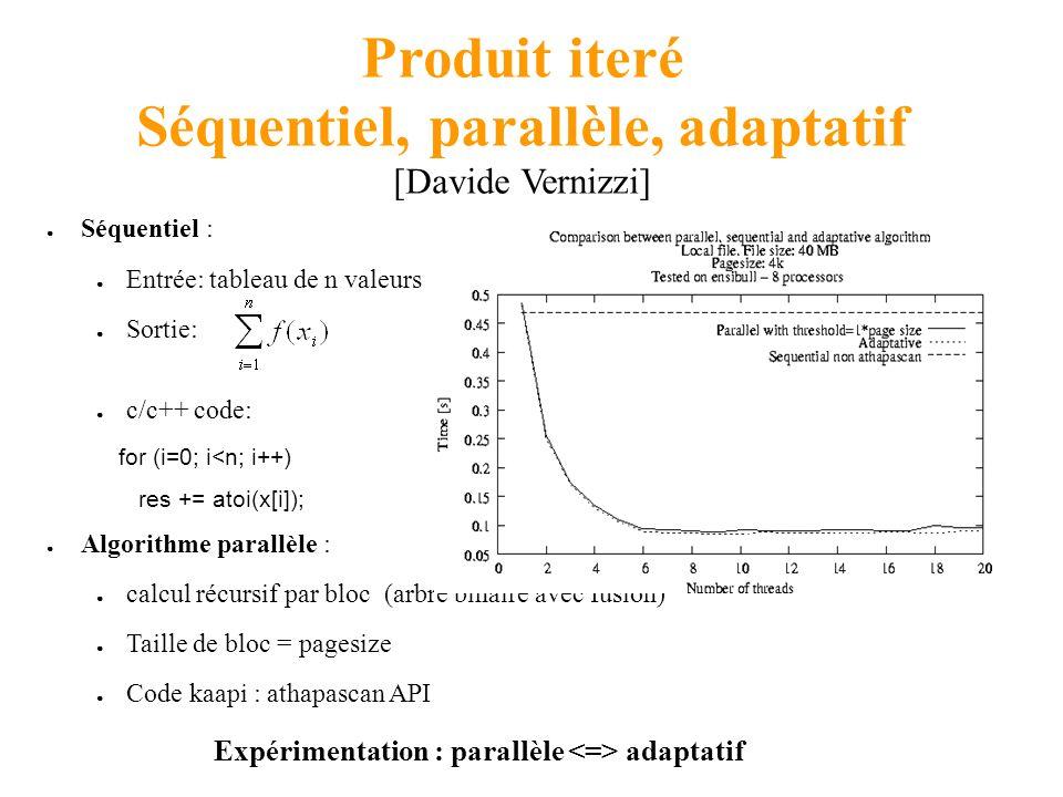 Produit iteré Séquentiel, parallèle, adaptatif [Davide Vernizzi] Séquentiel : Entrée: tableau de n valeurs Sortie: c/c++ code: for (i=0; i<n; i++) res