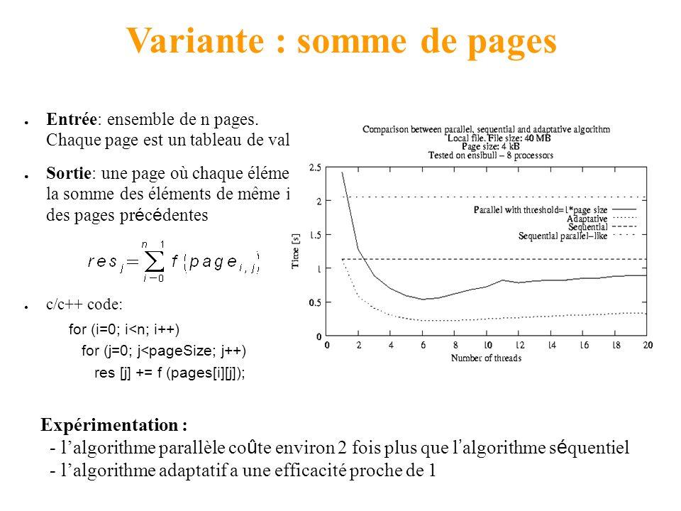 Variante : somme de pages Entrée: ensemble de n pages. Chaque page est un tableau de valeurs Sortie: une page où chaque élément est la somme des éléme