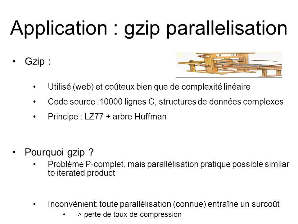 Application : gzip parallelisation Gzip : Utilisé (web) et coûteux bien que de complexité linéaire Code source :10000 lignes C, structures de données