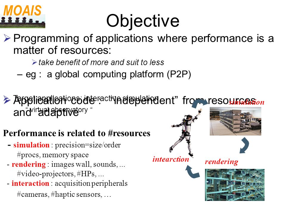 Objective Programming of applications where performance is a matter of resources: take benefit of more and suit to less –eg : a global computing platf