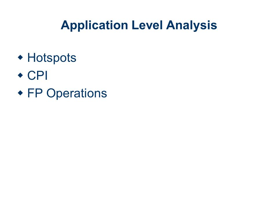 Application Level Analysis Hotspots CPI FP Operations