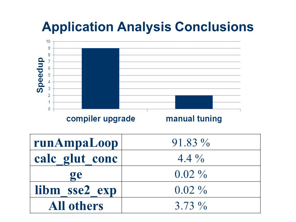 Application Analysis Conclusions runAmpaLoop 91.83 % calc_glut_conc 4.4 % ge 0.02 % libm_sse2_exp 0.02 % All others 3.73 %