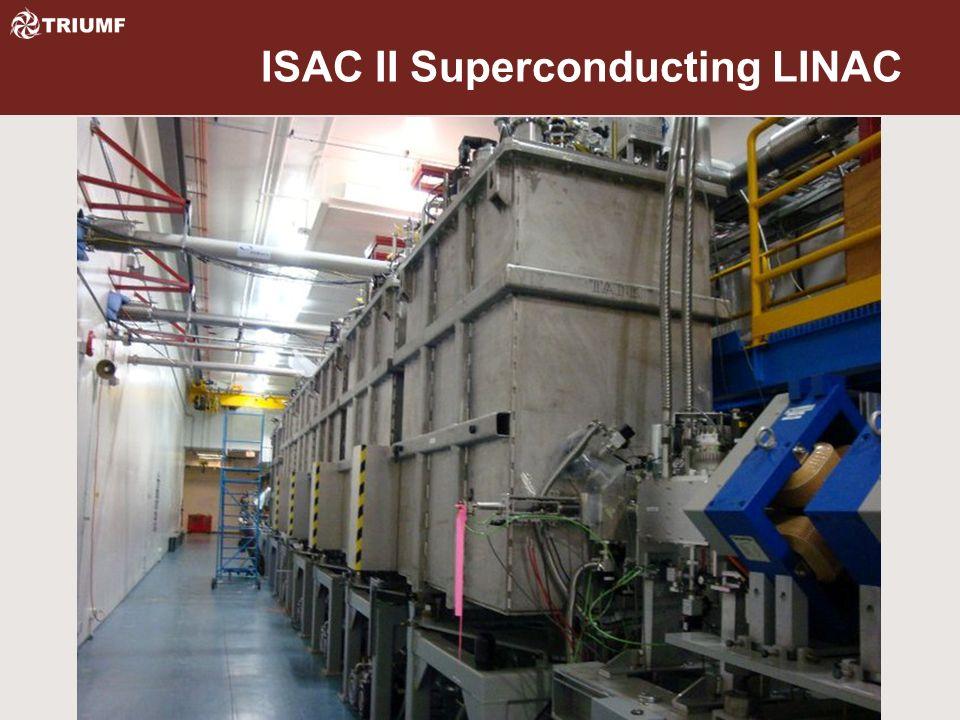 Beamlines Cyclotron 300kV injection line BL1A, 483MeV, 200uA, Meson production BL1B, 483MeV, NIF, ~400counts BL2A, 480MeV, 100uA, ISAC spallation target(s) BL2C4, 100MeV, 80uA, soon 110MeV, 100uA BL2C1, 70MeV-116MeV, PIF, 10nA BL4, soon to be 4N, 480MeV, 100uA ISAC Secondary (R)IB beamlines to TUDA, DRAGON, 8Pi, EMMA &TITAN ISAC II Superconducting LINAC, 20nA limit to EMMA and TITAN