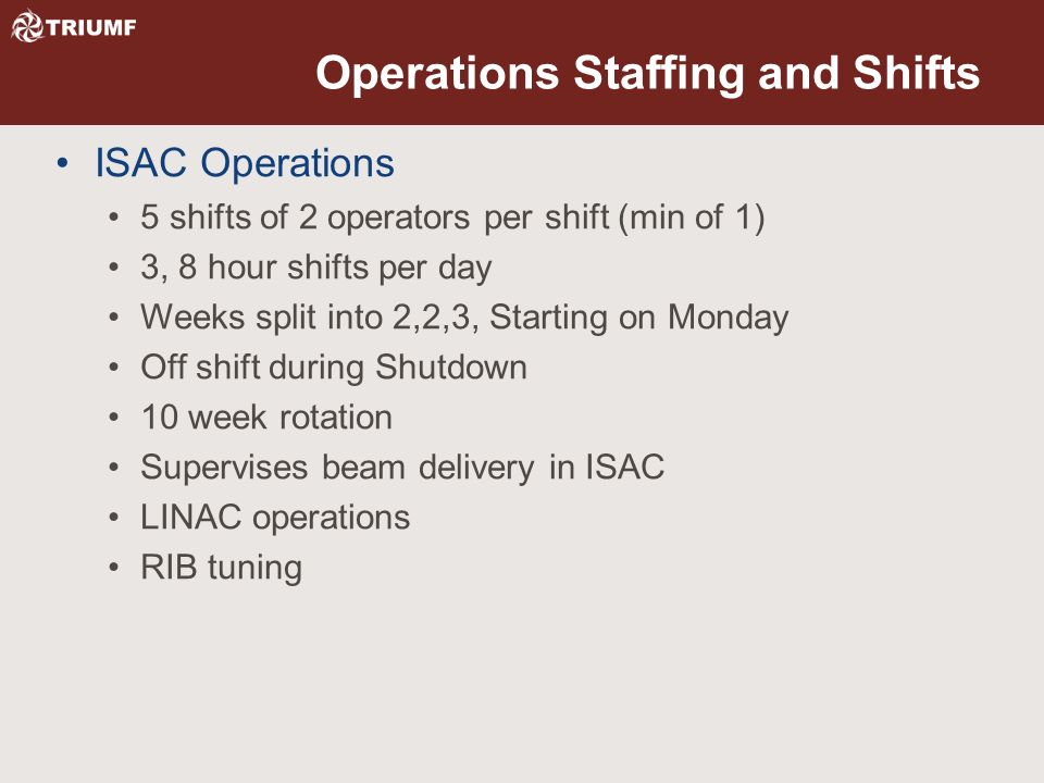 Operations Staffing and Shifts ISAC Operations 5 shifts of 2 operators per shift (min of 1) 3, 8 hour shifts per day Weeks split into 2,2,3, Starting on Monday Off shift during Shutdown 10 week rotation Supervises beam delivery in ISAC LINAC operations RIB tuning