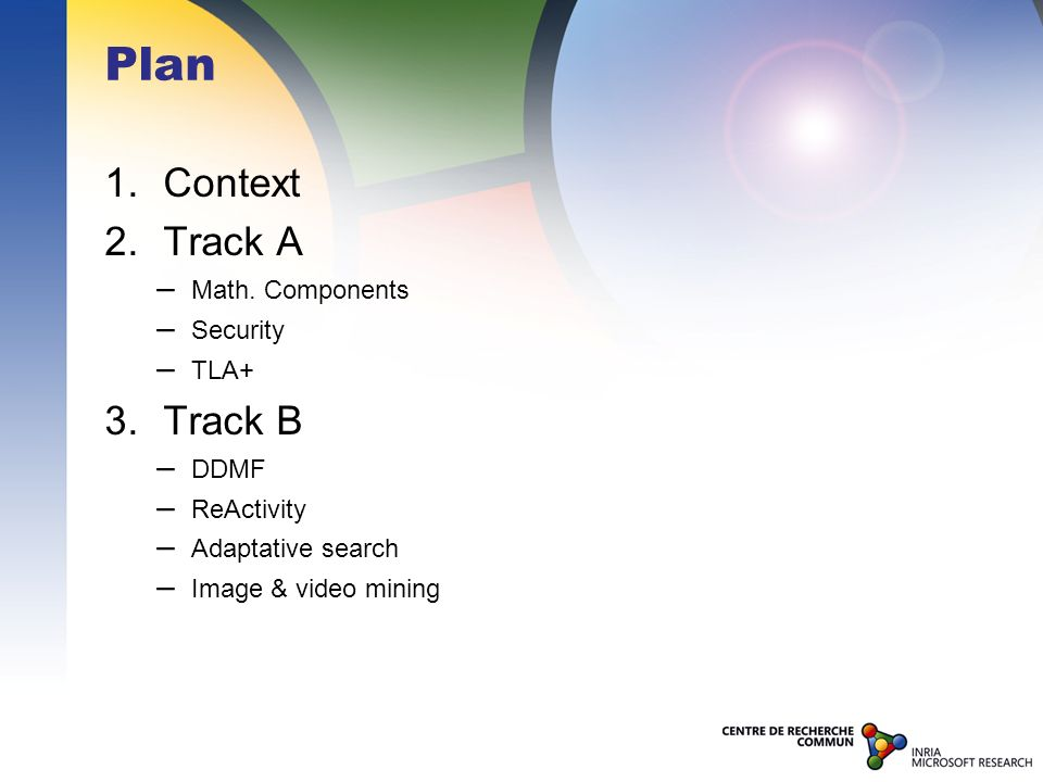 Plan 1. Context 2. Track A – Math. Components – Security – TLA+ 3. Track B – DDMF – ReActivity – Adaptative search – Image & video mining