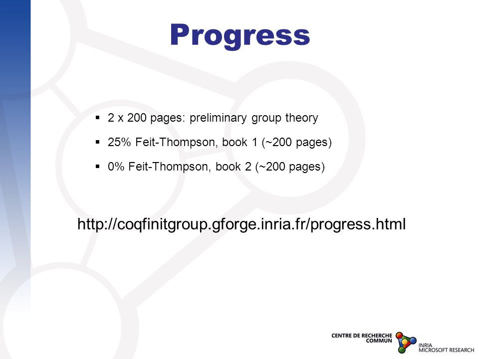 Progress http://coqfinitgroup.gforge.inria.fr/progress.html 2 x 200 pages: preliminary group theory 25% Feit-Thompson, book 1 (~200 pages) 0% Feit-Tho