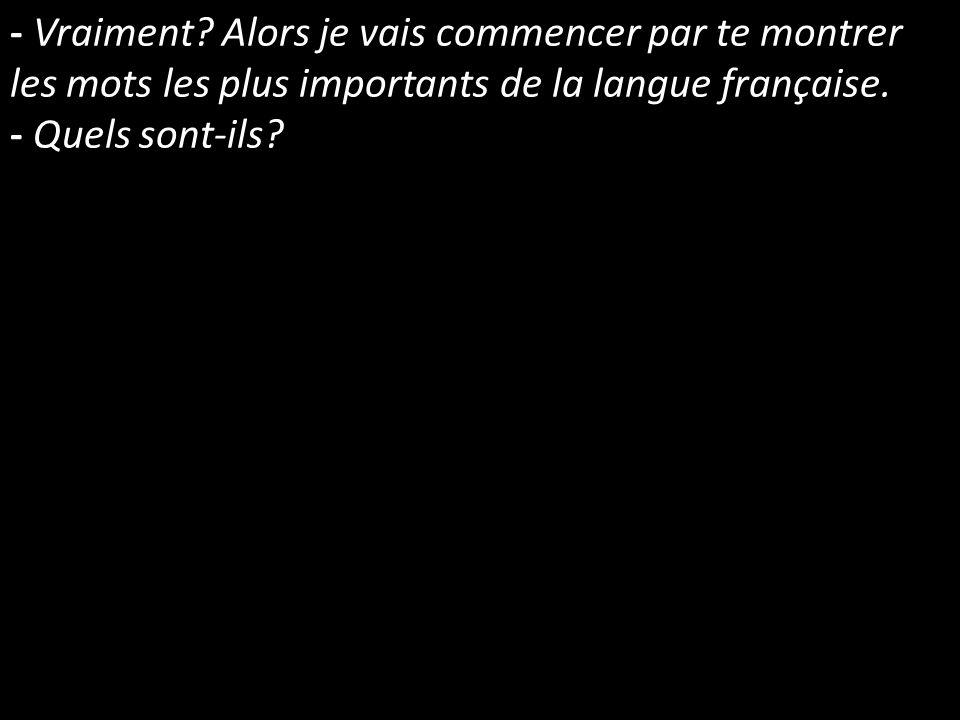 - Vraiment? Alors je vais commencer par te montrer les mots les plus importants de la langue française. - Quels sont-ils?