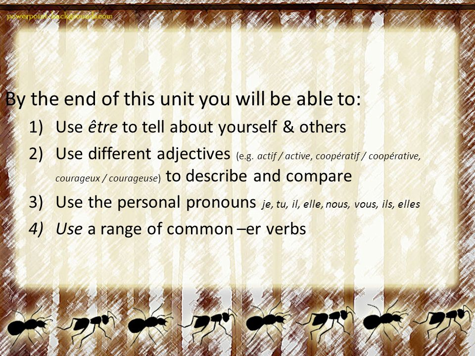 Learning Goals By the end of this unit you will be able to: 1)Use être to tell about yourself & others 2)Use different adjectives (e.g.