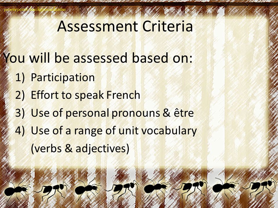 Assessment Criteria You will be assessed based on: 1)Participation 2)Effort to speak French 3)Use of personal pronouns & être 4)Use of a range of unit vocabulary (verbs & adjectives)