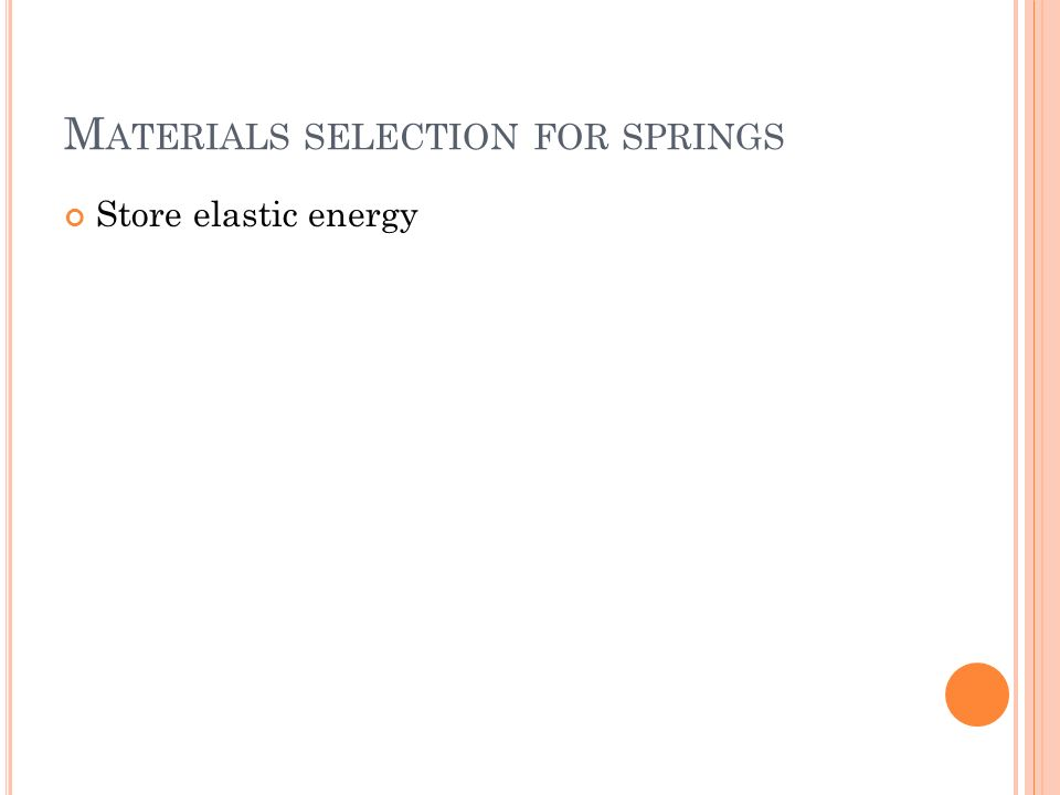 M ATERIALS SELECTION FOR SPRINGS Store elastic energy