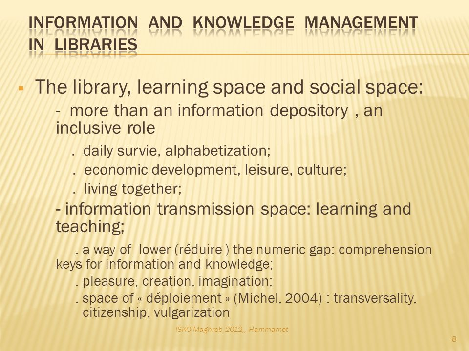 The library, learning space and social space: - more than an information depository, an inclusive role.