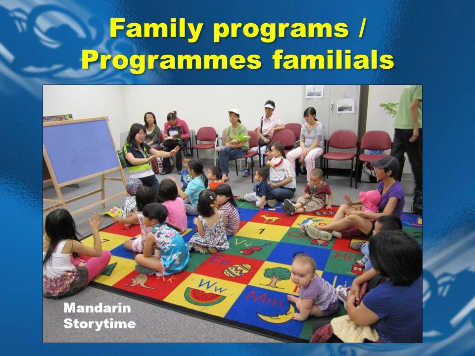 Mandarin Storytime Family programs / Programmes familials