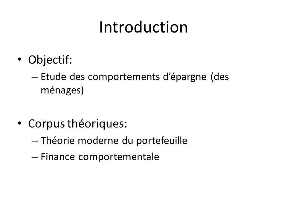 Introduction Objectif: – Etude des comportements dépargne (des ménages) Corpus théoriques: – Théorie moderne du portefeuille – Finance comportementale