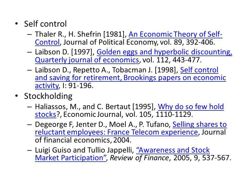Self control – Thaler R., H.