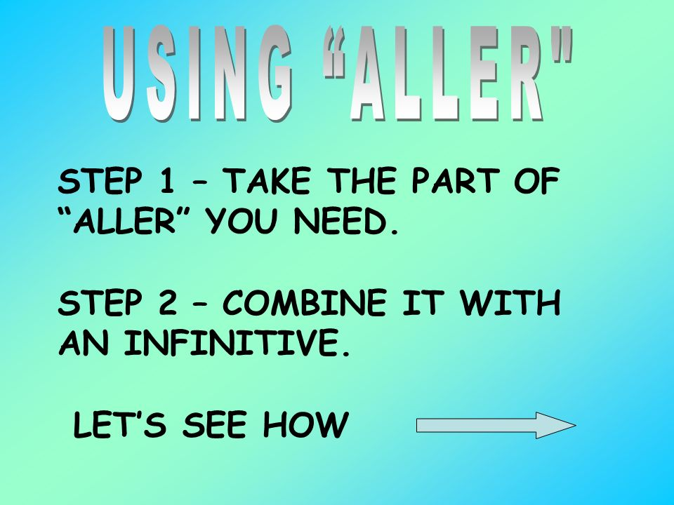 STEP 1 – TAKE THE PART OF ALLER YOU NEED. STEP 2 – COMBINE IT WITH AN INFINITIVE. LETS SEE HOW