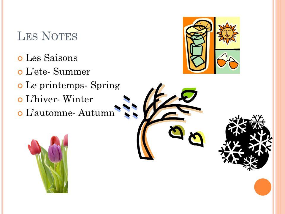 L ES N OTES Les Saisons Lete- Summer Le printemps- Spring Lhiver- Winter Lautomne- Autumn