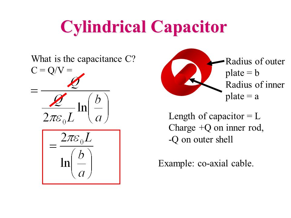 Cylindrical Capacitor What is the capacitance C? C = Q/V = Radius of outer plate = b Radius of inner plate = a Length of capacitor = L Charge +Q on in