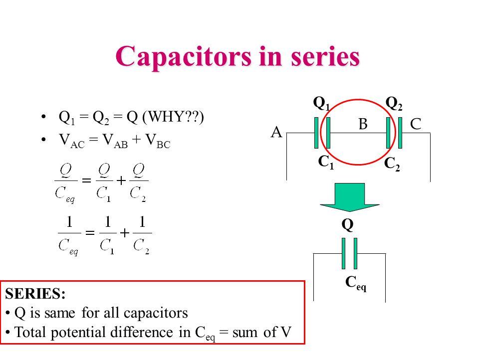 Capacitors in series Q 1 = Q 2 = Q (WHY??) V AC = V AB + V BC A BC C1C1 C2C2 Q1Q1 Q2Q2 C eq Q SERIES: Q is same for all capacitors Total potential dif