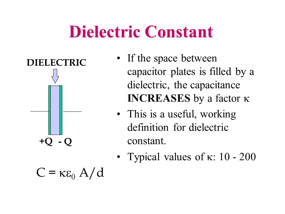 Dielectric Constant If the space between capacitor plates is filled by a dielectric, the capacitance INCREASES by a factor This is a useful, working d