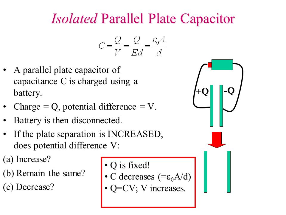 Isolated Parallel Plate Capacitor A parallel plate capacitor of capacitance C is charged using a battery. Charge = Q, potential difference = V. Batter