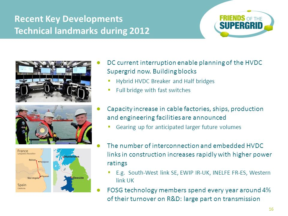 Recent Key Developments Technical landmarks during 2012 DC current interruption enable planning of the HVDC Supergrid now.