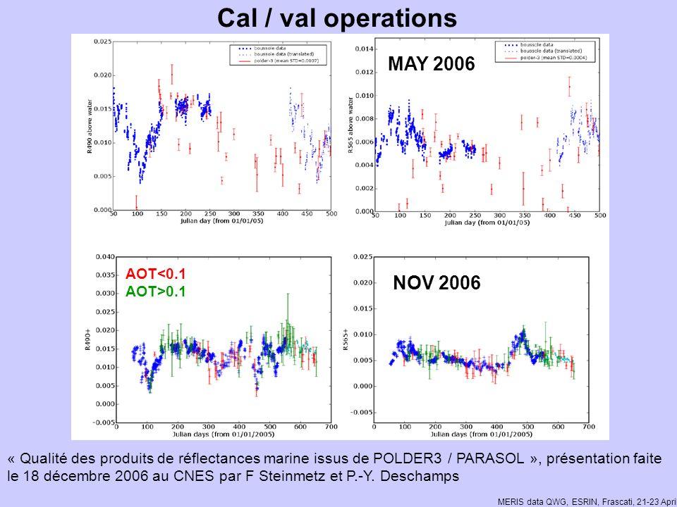 MERIS data QWG, ESRIN, Frascati, 21-23 April 2008 « Qualité des produits de réflectances marine issus de POLDER3 / PARASOL », présentation faite le 18 décembre 2006 au CNES par F Steinmetz et P.-Y.