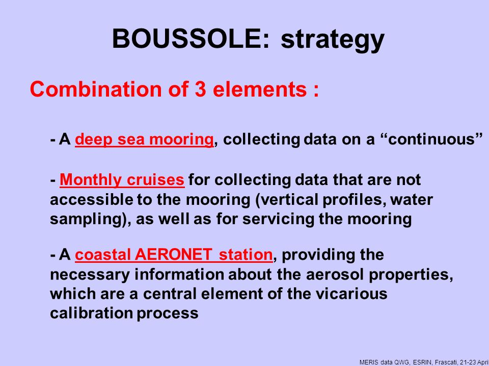 MERIS data QWG, ESRIN, Frascati, 21-23 April 2008 Funding Angencies Agence Spatiale Européenne Centre National dEtudes Spatiales National Aeronautics and Space Administration of the USA Centre National de la Recherche Scientifique Institut National des Sciences de lUnivers Observatoire Océanologique de Villefranche sur mer Université Pierre et Marie Curie
