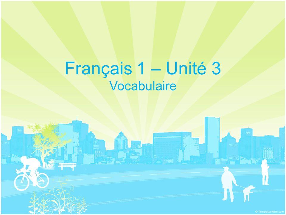 Français 1 – Unité 3 Vocabulaire