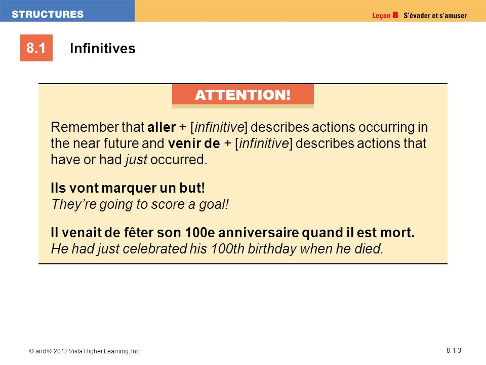 8.1 © and ® 2012 Vista Higher Learning, Inc. 8.1-3 Infinitives ATTENTION.