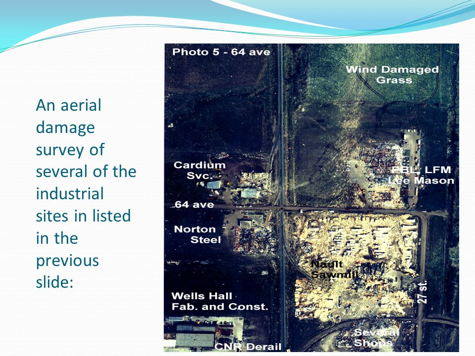 An aerial damage survey of several of the industrial sites in listed in the previous slide: