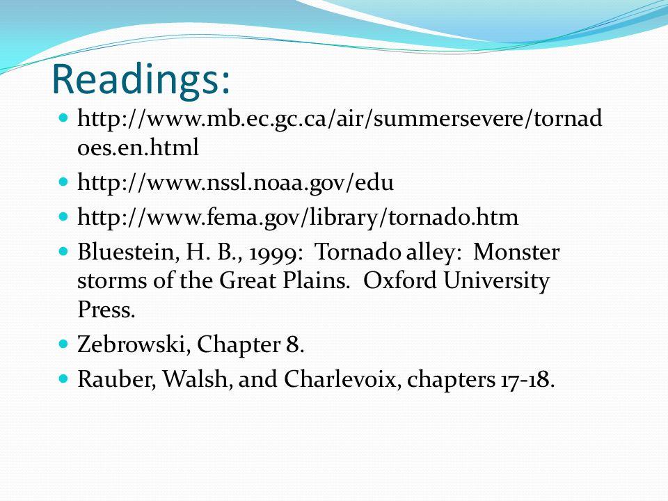 Readings: http://www.mb.ec.gc.ca/air/summersevere/tornad oes.en.html http://www.nssl.noaa.gov/edu http://www.fema.gov/library/tornado.htm Bluestein, H