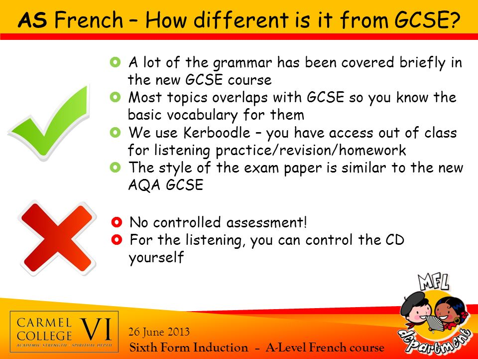 AS French – How different is it from GCSE? Sixth Form Induction – A-Level French course 26 June 2013 A lot of the grammar has been covered briefly in
