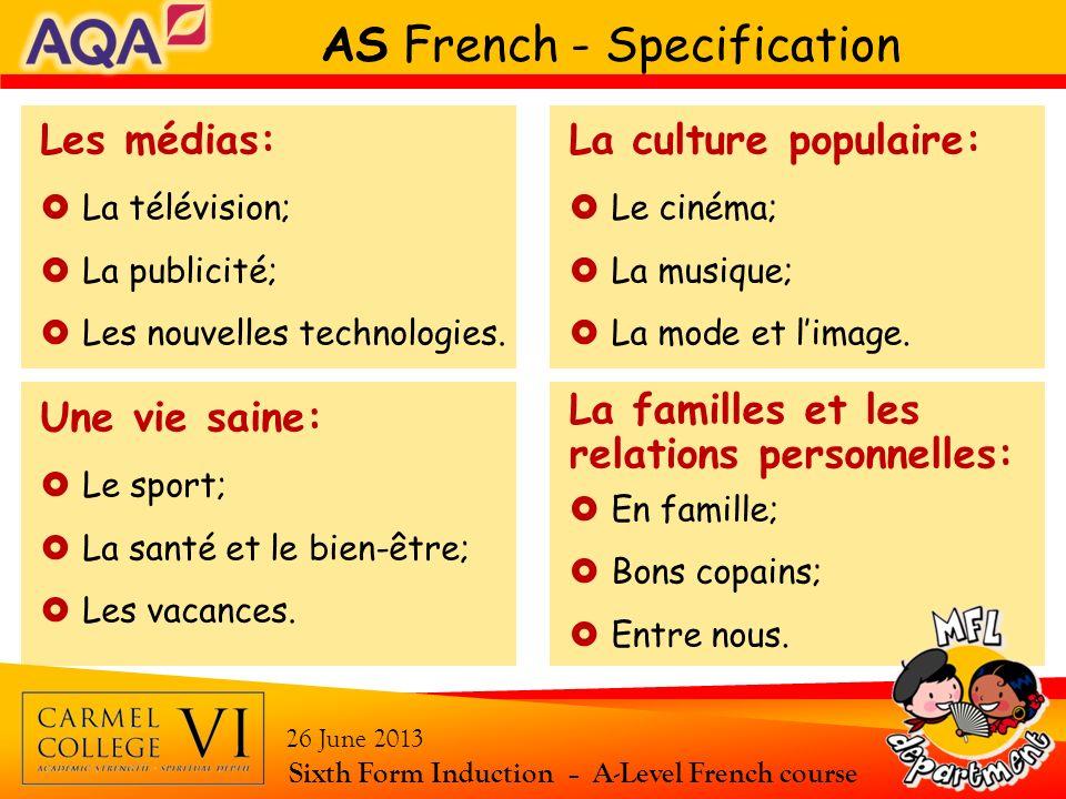 AS French - Specification Les médias: La télévision; La publicité; Les nouvelles technologies. La culture populaire: Le cinéma; La musique; La mode et