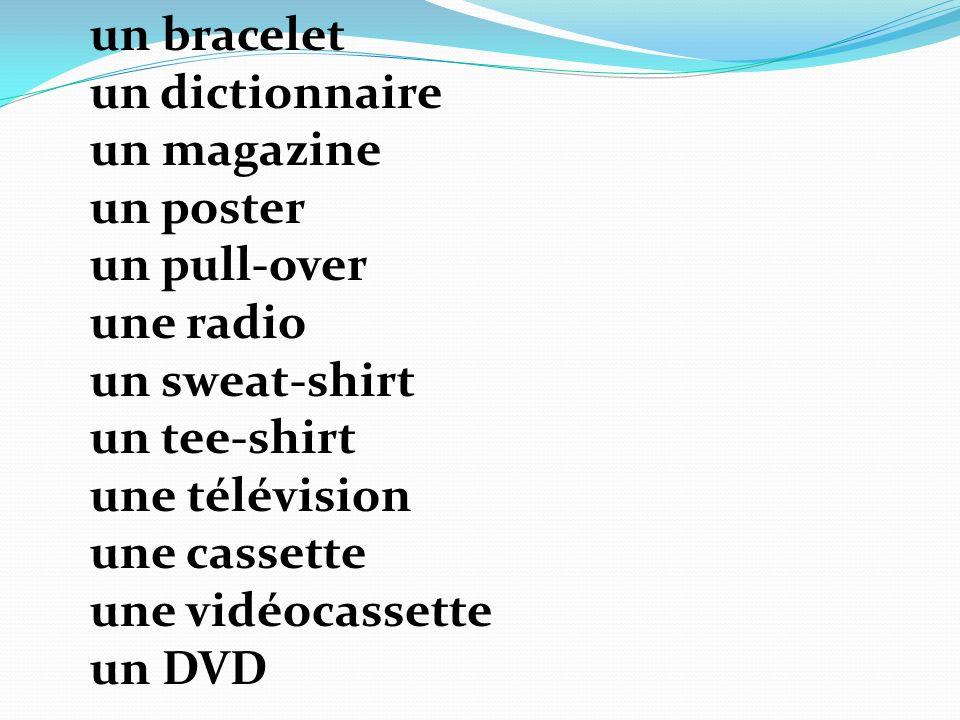 un bracelet un dictionnaire un magazine un poster un pull-over une radio un sweat-shirt un tee-shirt une télévision une cassette une vidéocassette un DVD