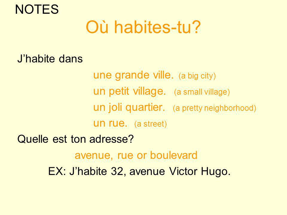 Où habites-tu? Jhabite dans une grande ville. (a big city) un petit village. (a small village) un joli quartier. (a pretty neighborhood) un rue. (a st