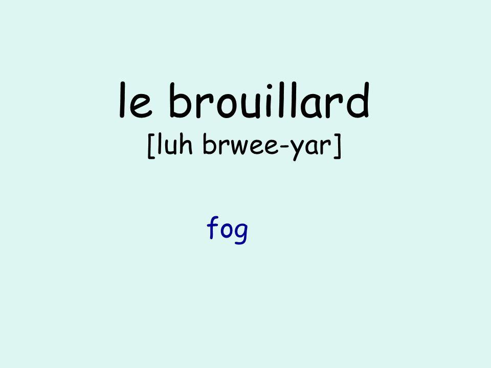 le brouillard [luh brwee-yar] fog