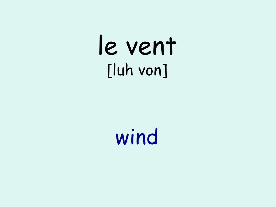 le vent [luh von] wind