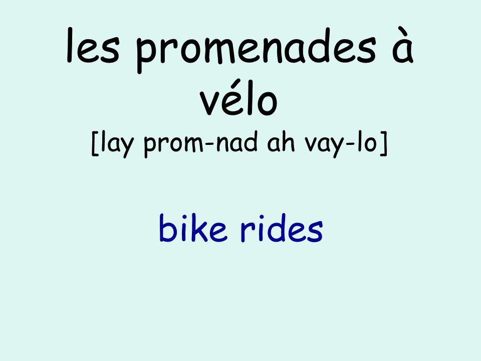 les promenades à vélo [lay prom-nad ah vay-lo] bike rides