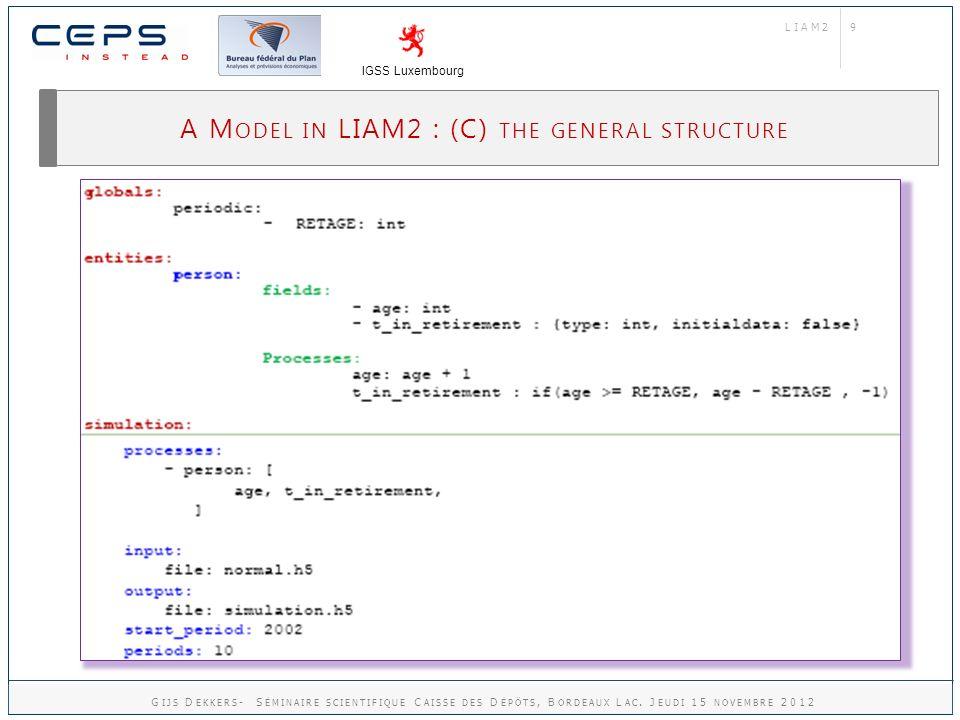 9 A M ODEL IN LIAM2 : (C) THE GENERAL STRUCTURE LIAM2 IGSS Luxembourg G IJS D EKKERS - S ÉMINAIRE SCIENTIFIQUE C AISSE DES D ÉPÔTS, B ORDEAUX L AC.