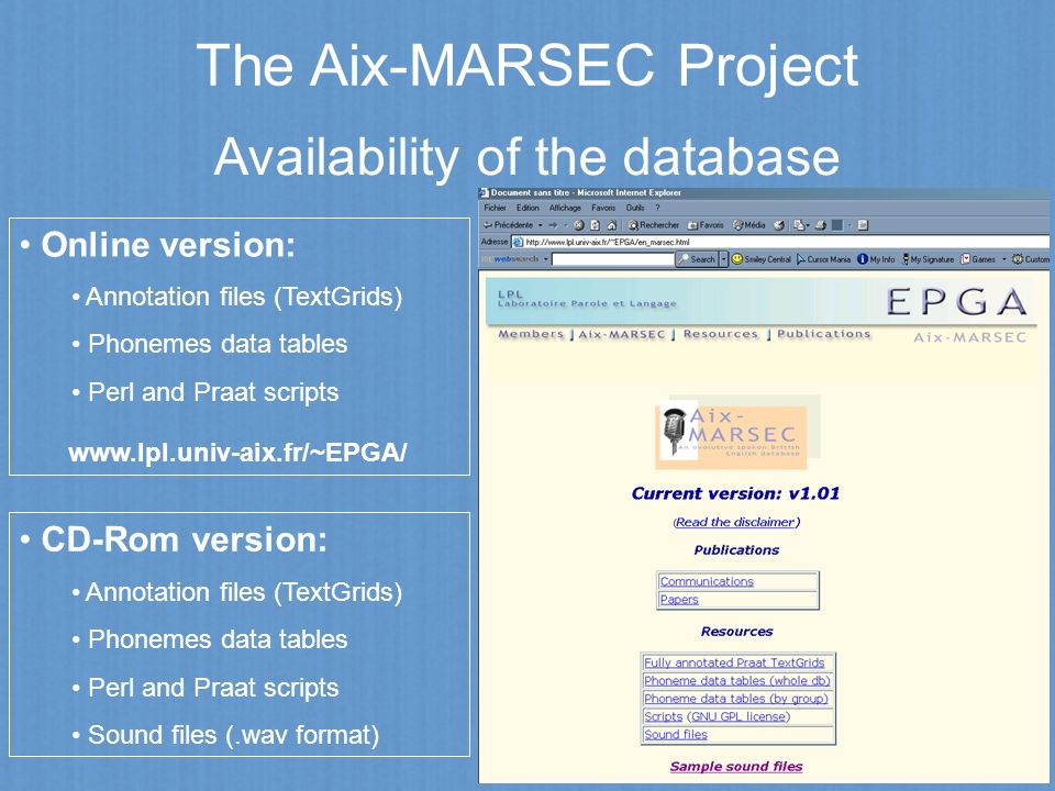 Availability of the database Online version: Annotation files (TextGrids) Phonemes data tables Perl and Praat scripts www.lpl.univ-aix.fr/~EPGA/ CD-Ro