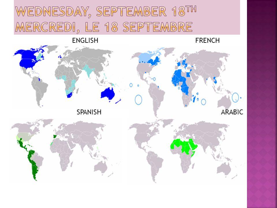 ENGLISH FRENCH SPANISH ARABIC