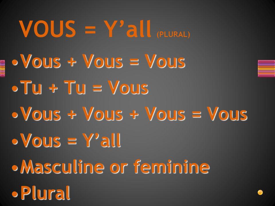 Vous + Vous = VousVous + Vous = Vous Tu + Tu = VousTu + Tu = Vous Vous + Vous + Vous = VousVous + Vous + Vous = Vous Vous = YallVous = Yall Masculine or feminineMasculine or feminine PluralPlural VOUS = Yall (PLURAL)